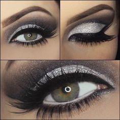 Wow. Perfection! #makeup #eyeshadow #shimmer #glitter #lashes #smokey #beautiful #dramatic #dark #silver #black #eyes #onfleek