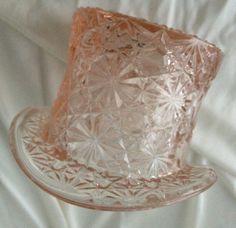 Vintage Pair of Pressed Glass Top Hats in Pale by BarbeeVintage, $24.00
