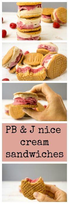 VEGAN 5 ingredient no-bake PB & J nice cream sandwich! (Grain-free, gluten-free, vegan)
