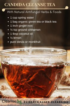 Candida tea recipe : safely cleanse and detox candida yeasts from your body using natural antifungal foods herbs you can easily find at your local store. Natural Detox, Natural Healing, Holistic Healing, Natural Oil, Natural Antifungal, Antifungal Foods, Candida Cleanse, Cleanse Detox, Health Cleanse