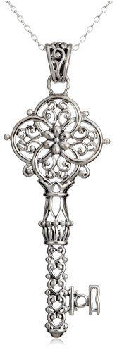 Sterling Silver Filigree Key Pendant, 18″