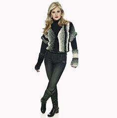 Casaqueto e luvas pretas com bege Cisne Dual #tricô #ModaInverno #CoatsCorrente