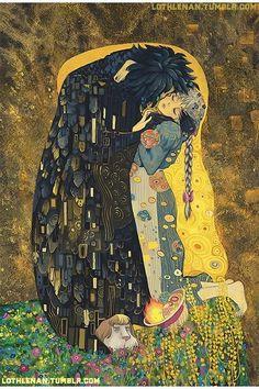 Gustav Klimt The Kiss + Houl's Moving Castle