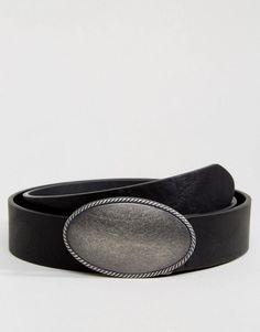 ASOS Faux Leather Wide Belt With Large Vintage Buckle In Black - Black