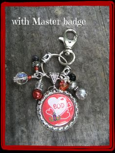 MASTER EOD badge Beaded bottle cap Key ring  by CreationsbyGena