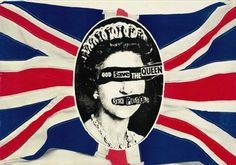 """Sex Pistols iconic poster, black and white Queen depicted on a traditional Union Jack Flag. The Queen's eyes and mouth are torn to reveal """"God Save The Queen Sex Pistols"""". Originally featured in 1977. This design piece of punk design is a great illustration of post-modernism."""