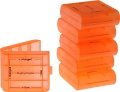 awesome (6 Pack) AA / AAA Bright Orange 4 Cell Battery Case with Charge Reminder Markings