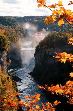The Hot Air Balloons float across fall's beauty here at Letchworth State Park NY Beautiful Waterfalls, Beautiful Landscapes, Beautiful World, Beautiful Places, Beautiful Scenery, Oh The Places You'll Go, Places To Visit, Letchworth State Park, Fjord