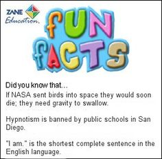 Fun Facts 85 from Zane Education at http://www.zaneeducation.com