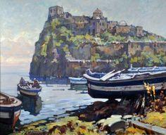 Sablautzki Alfredo (Prussia 1921 - Napoli 2003) Ischia Castello Aragonese olio su tavola cm 50x60