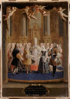 On September 5th, in 1725, a 15 year old Louis XV married 21 year old Marie Leszczyńska. He had originally been engaged to his cousin, Maria Anna Victoria of Spain, who had been living at Versailles for four years. However, there were concerns over Louis' health and they wanted him to produce an heir as soon as possible, so the then 7 year old Infanta was sent back home. Louis XV and Marie Leszczyńska would go on to have 11 children together in a span of just 10She who pwns people with…