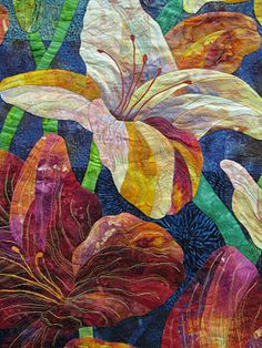 Charlotte Hickman's quilt Day lilies: close-up
