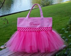 Embroidered dance bag - Shades of Pink with Polka Dot Ribbon Tutu Tote Bag - TB39 - EST
