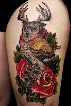 horned owl antlers bird ink tattoo color colour