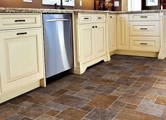 Gray And Brown Square Patterned Vinyl Floors Kitchen