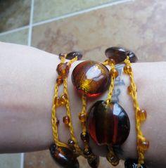 Golden Amber Versatile crocheted necklace / bracelet by FleasKnees, $15.00