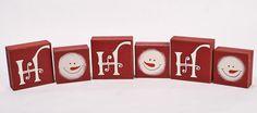 "snowman Wood Crafts | Christmas ""Ho Ho Ho"" Snowman Wood Block Set - Christmas Holiday Sale ..."