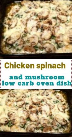 low carb recipes Chicken spinach and mushroom low carb oven dish Make this low carb dish for your family. It has chicken, mushrooms, spinach, cheese and wonderful flavors everyone will enjoy. This spinach artichoke chicken casserole is low carb and Chicken Spinach Mushroom, Chicken And Spinach Casserole, Spinach Artichoke Chicken, Spinach Stuffed Mushrooms, Spinach Stuffed Chicken, Chicken Mushrooms, Chicken Spinach Recipes, Low Carb Chicken Casserole, Chicken