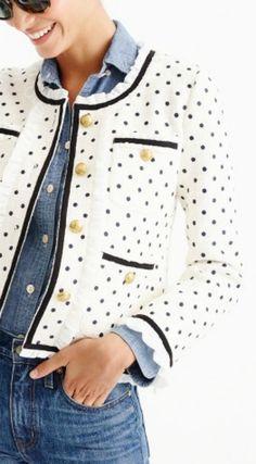 Polka Dot Jacket    jcrew, jacket, cute jacket, polka dot, shop, chambray, outfit idea, easy outfit idea, cute outfit, shop, style, fashion, inspo