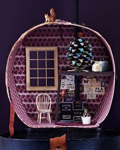 Hat Box Doll House.  So Cute.  And it reminds me of the airstream trailer symbol of local company Reno eNVy.