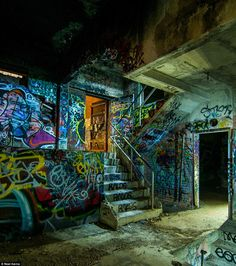 Graffiti inside a long-abandoned trash incinerator in Fort Worth, Texas - This would have been a dream hang out for me as a teen.
