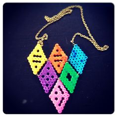 Diamond perler bead necklace