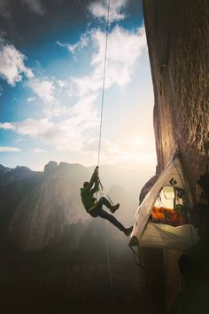 Two climbers in California's Yosemite national park make history as they reach the summit of what has been called the world's hardest rock climb. Kevin Jorgeson and Tommy Caldwell, seen climbing here, scaled the half-mile section of exposed granite known as the Dawn Wall on El Capitan peak. Corey Rich/Aurora Photos