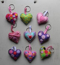 Patchyz - Heart key chain original collectable gift love hand made designed by Kathleen Flask