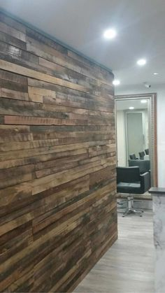reclaimed wood feature wall -