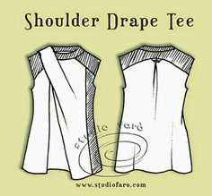 Pattern Puzzle - Shoulder Drape Tee - well-suited