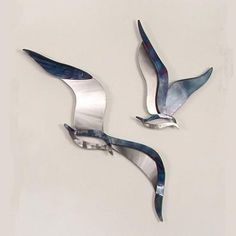 Set of Two Soaring Seagulls Wall Art