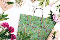 Green Pattern Paper Bag - Sorrento #sorrento#stylishpaperbag#warmshades#green #pink#unusualpattern