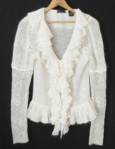 New Moda International Cardigan Sweater Mohair Ruffle Crocheted Ivory (Fits S)   #ModaInternational #Cardigan