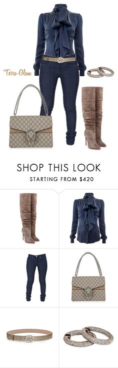 """Suede & Navy"" by terra-glam ❤ liked on Polyvore featuring Christian Louboutin, Safiyaa, Gucci and Uti"