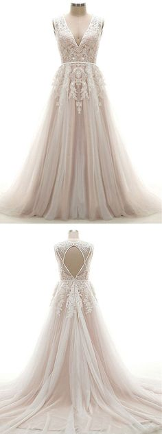 A-line Prom Dress V-neck, Lace Prom Gowns Open