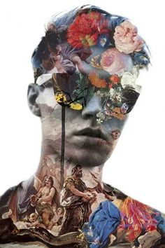 Jenya Vyguzov is a twenty-year-old collage artist from Krasnoyarsk, Russia. He creates stunning mixed-media fashion collages. Jenya always had many creative ideas as a child but had not yet found the Collage Kunst, Art Du Collage, Digital Collage, Digital Art, Flower Collage, Face Collage, Art Collages, Surreal Collage, Collage Photo