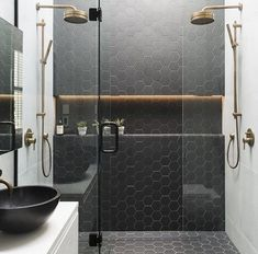 Like hex tiles floor and up shower walls