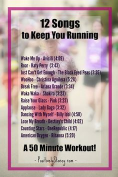 12 Songs to Keep You Running - Perfect for a 50 minute workout! #runningtraining