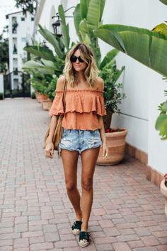 off the shoulder summer outfit // @allisonnkelleyy