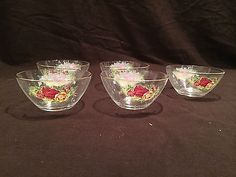 """5 Glass Bowls in: Royal Albert Old Country Roses - Gold Rimmed Bowl measures: Dia. 2 ½""""H Pre owned - Very Good Condition Look for other serving pieces in this pattern on our other listings. Rose Gold Rims, Glass Bowls, Royal Albert, Tea Set, Shot Glass, Roses, China, Country, Tableware"""