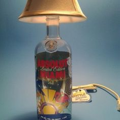 Absolut Limited Miami Liquor Bottle Table Lamp W White Shade Bottle Lamps, Bottle Art, Liquor Bottles, Vodka Bottle, Custom Candles, Light Table, Miami, Hookahs, Table Lamp