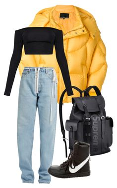"""bodak yellow"" by bilgzzxo ❤ liked on Polyvore featuring Chen Peng, Off-White, Louis Vuitton and NIKE"