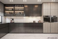 Contemporary house in Paris. on Behance Kitchen Cabinet Design, Modern Kitchen Design, Kitchen Sets, Home Decor Kitchen, Basement Living Rooms, Bedroom Cupboard Designs, Interior Design Studio, Apartment Interior, Interior Architecture