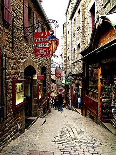 Mont Saint Michel. Pretty much every street on the island is like this. Such an amazing place, I would love to go back.