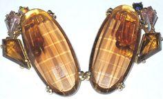 SCHIAPARELLI Amazing Topaz & Pink Kite Rhinestone Vintage Clip Earrings HUGE