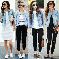 Denim jacket jean jacket outfits in 2019 стиль одежды, женская мода, одежда How To Wear Denim Jacket, Jean Jacket Outfits, Denim Outfits, Outfit Jeans, Mode Outfits, Fashion Outfits, Denim Jacket Outfit Summer, Outfits Damen, Denim Jacket Womens