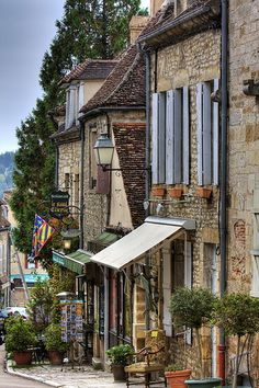 Pretty Street in Vezelay, Burgundy, France