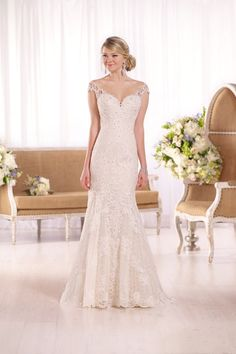 Style D1994 -  Cap-sleeve gown from @essensedesigns boasts beautiful lace that cascades down into a lace hem and long train with sweetheart neckline - See more gorgeous lace gowns on @weddingwire!