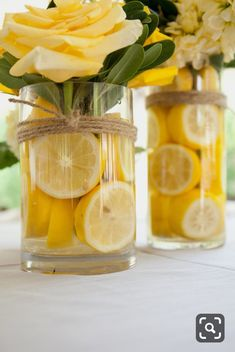 DIY centerpieces are all sunshine, with buttercup yellow roses and a zing . DIY centerpieces are all sunshine, with buttercup yellow roses and a zing .DIY centerpieces are all sunshine, with buttercup yellow roses and a zing . Cheap Table Decorations, Decoration Table, Wedding Decorations, Backdrop Wedding, Cheap Centerpiece Ideas, Yellow Decorations, Birthday Table Decorations, Fruit Centerpieces, Bridal Shower Centerpieces