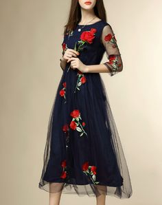 Check the details and price of this Blue Rose Mesh Flare Midi Dress (Royal Blue, multiflora) and buy it online. VIPme.com offers high-quality Day Dresses at affordable price.